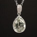 Sterling Silver Prasiolite and Diamond Pendant Necklace