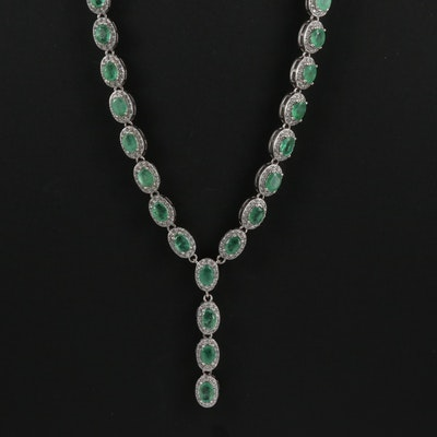 Sterling Emerald and Cubic Zirconia Y Necklace