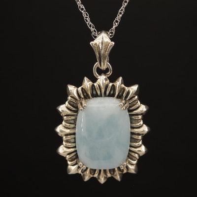 Sterling Silver Aquamarine Pendant Necklace