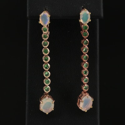 Sterling Opal and Diopside Dangle Earrings