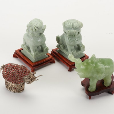 Carved Calcite Elephant and Marble Guardian Lions with Metal Filigree Box