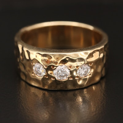 14K Diamond Band with Hammered Texture