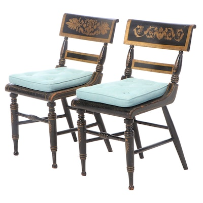 "Near Pair of American Classical Painted and Parcel-Gilt Baltimore ""Fancy"" Chairs"