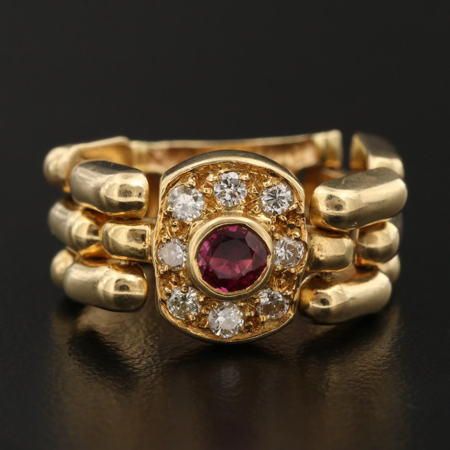 18K Ruby and Diamond Panther Chain Ring