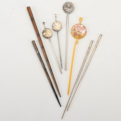 East Asian Style 950 Sterling Silver Hair Pins and More, Early/Mid 20th Century