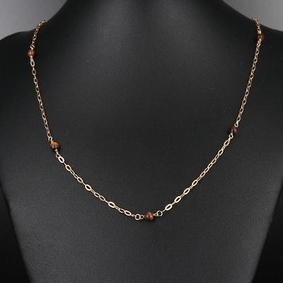 14K Tiger's Eye Station Necklace