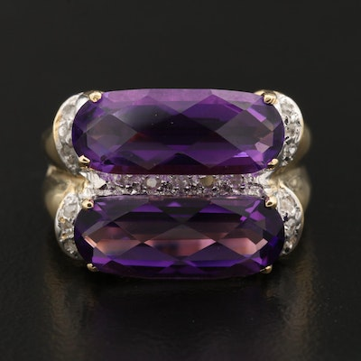 14K Amethyst Ring with Diamond Accents