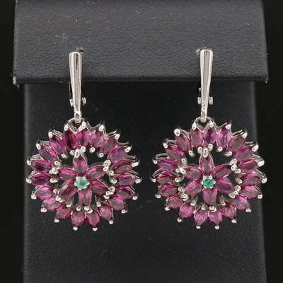 Sterling Silver Garnet and Emerald Drop Earrings