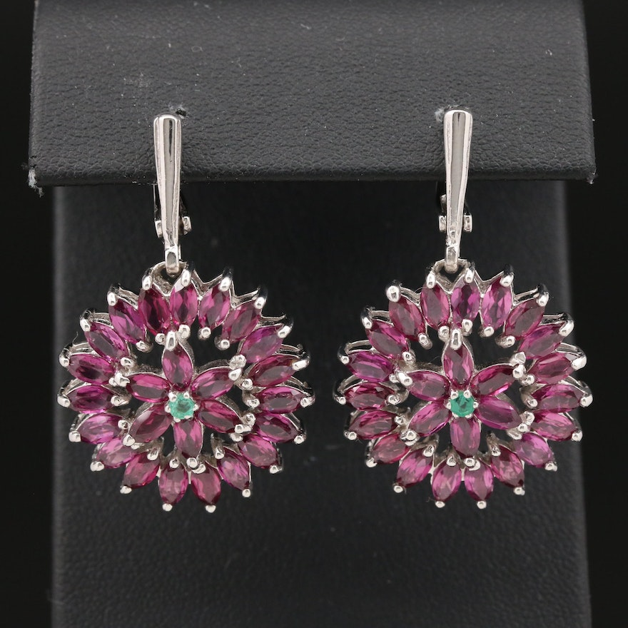 Sterling Silver Garnet and Emerald Drop Earrings
