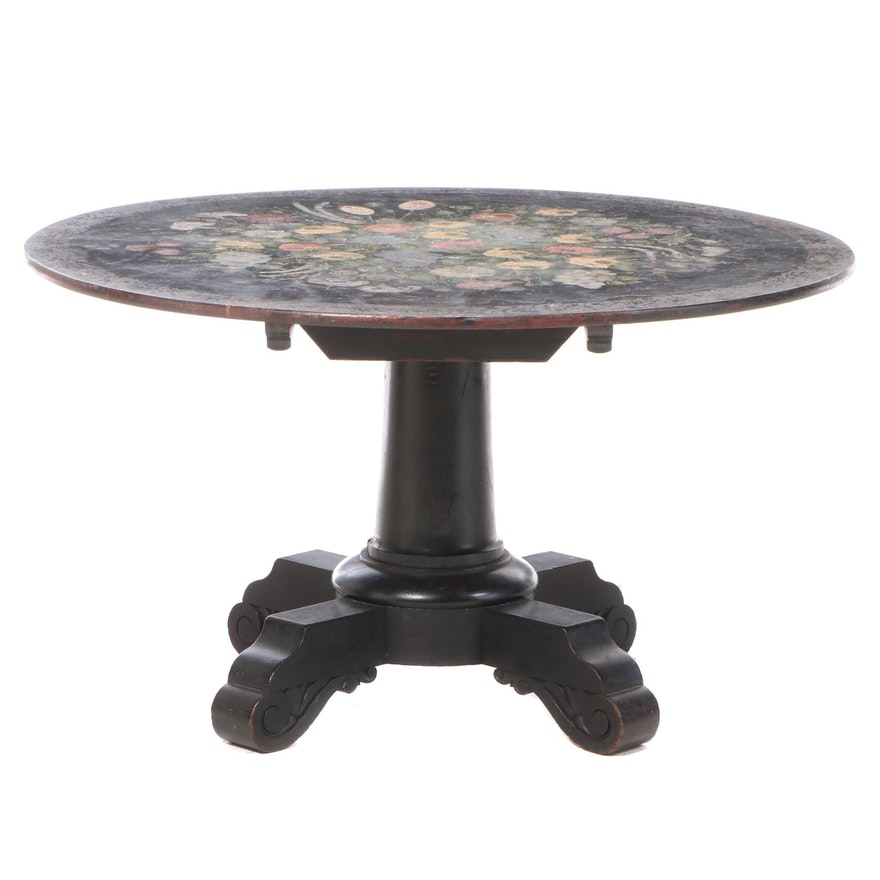 Early Victorian Ebonized, Polychromed, and MOP-Inlaid Tilt-Top Center Table