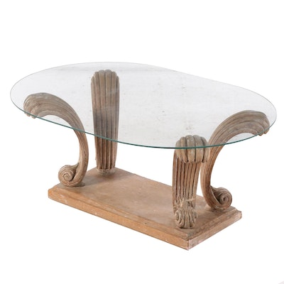 Neoclassical Style Carved Wood and Glass Top Coffee Table, Late 20th Century