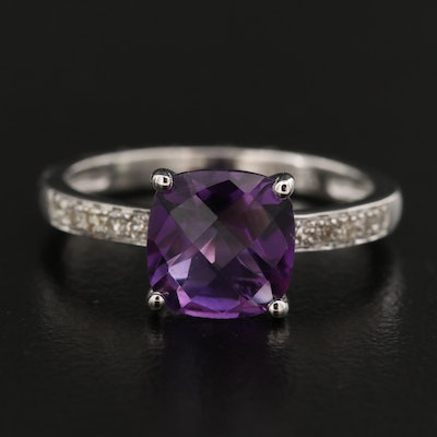 14K Amethyst Ring with Diamond Shoulders