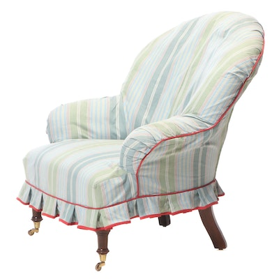 Victorian Style Slipper Chair with Striped Cover