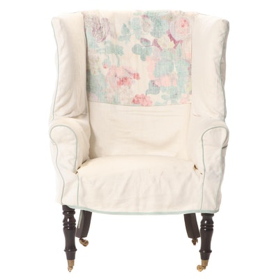 George III Style Slip-Covered Wing Armchair