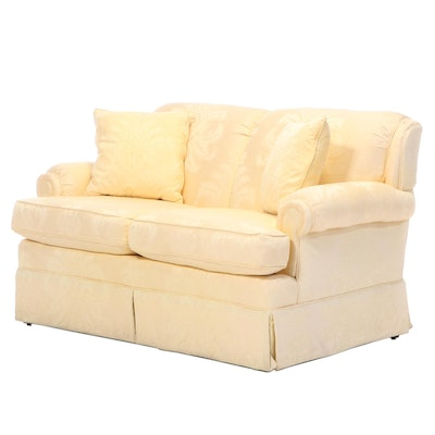 Rolled Arm Upholstered Love Seat with Pillows, Late 20th Century