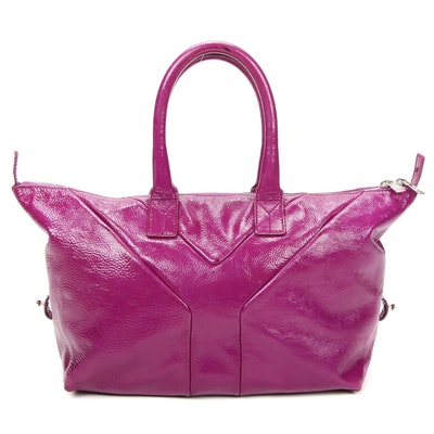Yves Saint Laurent Rive Gauche Magenta Crinkled Patent Leather Satchel