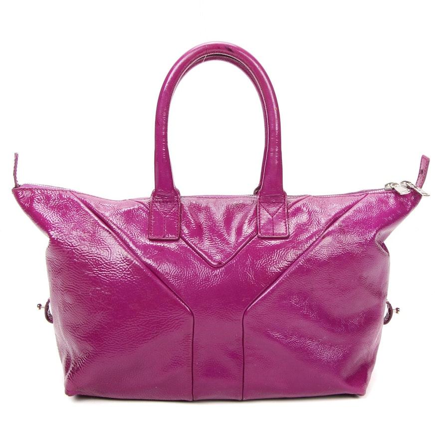 Yves Saint Laurent Rive Gauche Magenta Crinkled Patent Leather Satchel