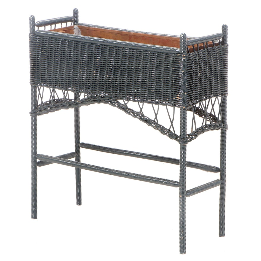 Green-Painted Wicker and Copper-Lined Plant Stand, 20th Century