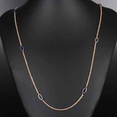 14K Gold Lapis Lazuli Station Necklace