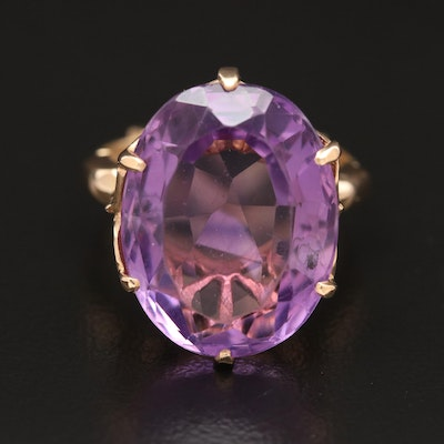 Vintage 14K Gold 14.08 CT Amethyst Ring with Arthritic Shank