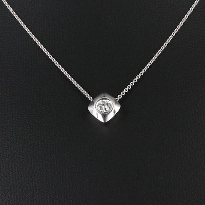 14K 0.26 CT Diamond Solitaire Pendant Necklace