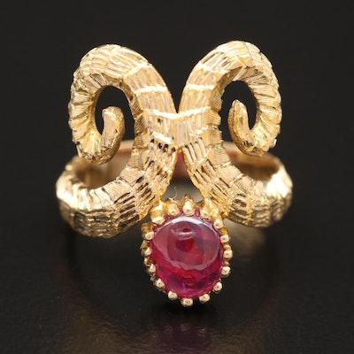 Vintage 18K Ruby Double Ram Horn Ring