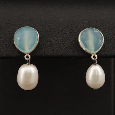 Sterling Pearl and Chalcedony Drop Earrings