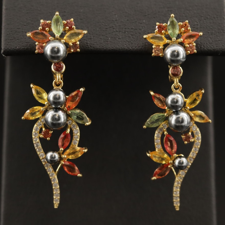 Sterling Dangle Earrings with Fancy Sapphire, Faux Pearl and Cubic Zirconia