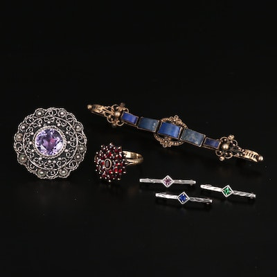 Vintage Jewelry with 900, 980 and Sterling Silver, Lapis Lazuli and Sapphire
