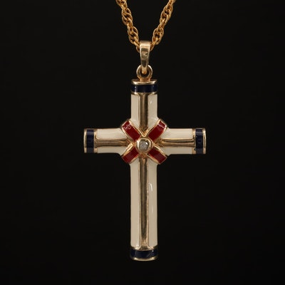Sterling Diamond and Enamel Cross Pendant Necklace