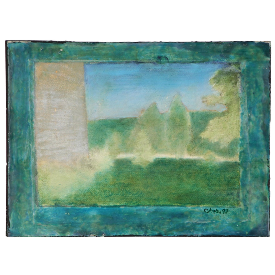 "Blair Gibeau Abstract Mixed Media Artwork ""Ross Kentucky"", 1997"