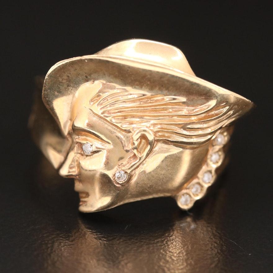 14K Gold Diamond Feminine Profile Ring