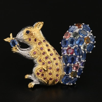 Sterling Kyanite, Citrine and Garnet Squirrel Brooch