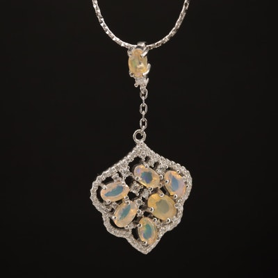 Sterling Silver Opal and Cubic Zirconia Necklace