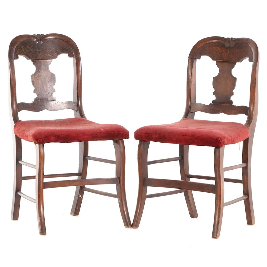 American Empire  Mahogany Fiddle Back Upholstered Side Chairs