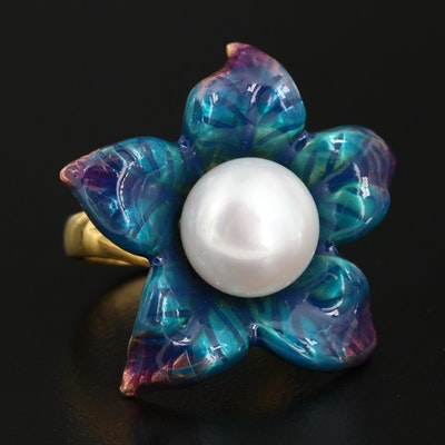 Sterling Pearl and Enamel Flower Ring