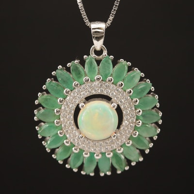 Sterling Silver Opal, Emerald, and Cubic Zirconia Medallion Pattern Necklace
