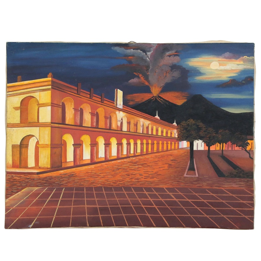 Oil Painting of City Square and Volcano, Late 20th Century