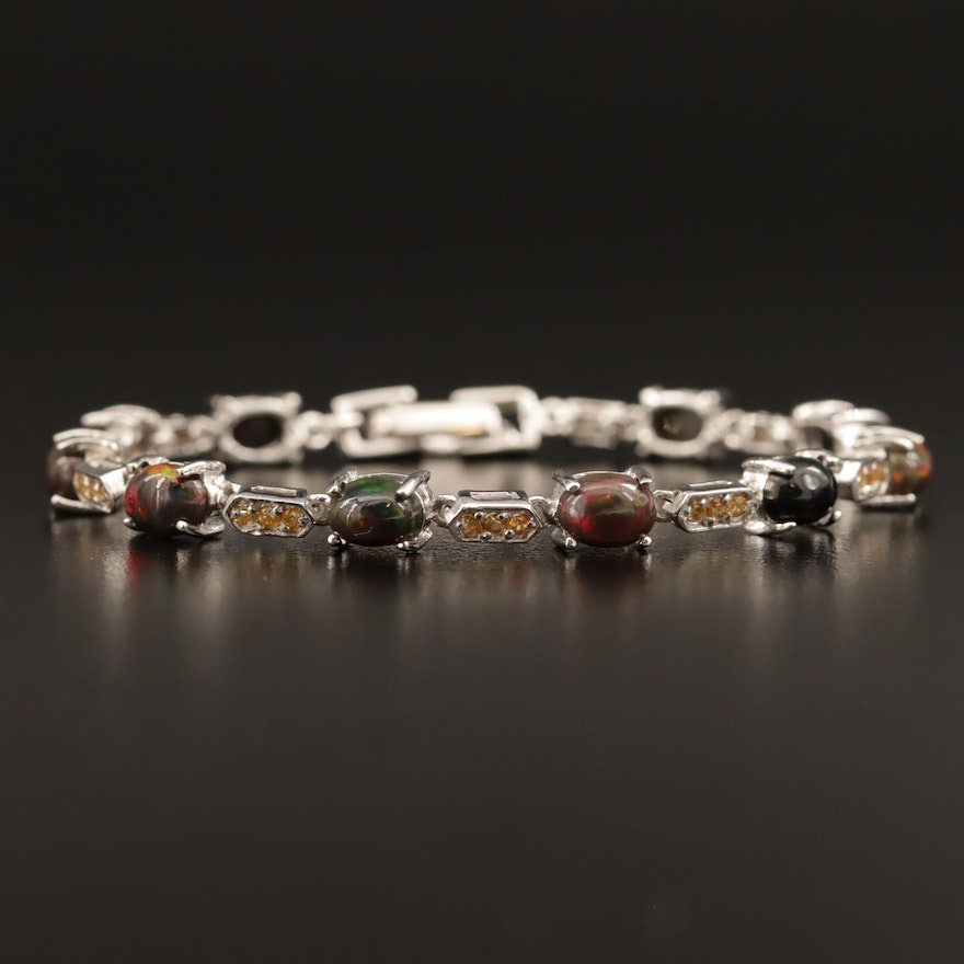 Sterling Silver Sapphire and Opal Bracelet