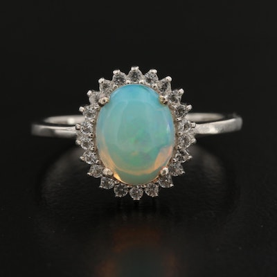 Sterling Opal and White Topaz Halo Ring