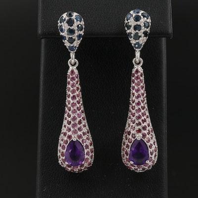 Sterling Amethyst, Garnet and Sapphire Drop Earrings