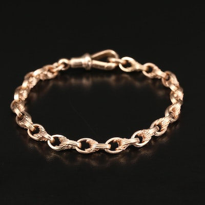 9K Rose Gold Converted Watch Fob Chain Bracelet
