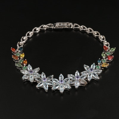 Sterling Floral Bracelet with Aquamarine, Tanzanite and Emerald