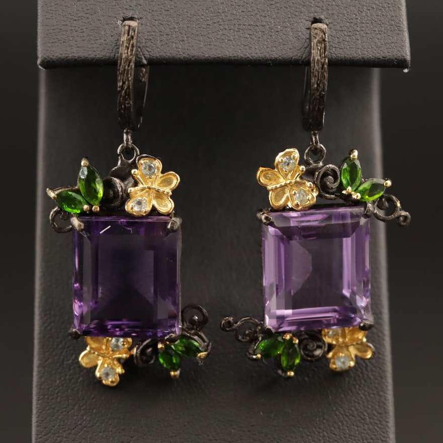 Sterling Amethyst, Diopside, and Topaz Drop Earrings with Butterfly Accents