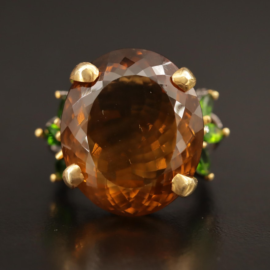 Sterling Silver Citrine and Diopside Ring
