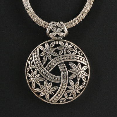 Sterling Silver Openwork Pendant Necklace Featuring Foliate Motif