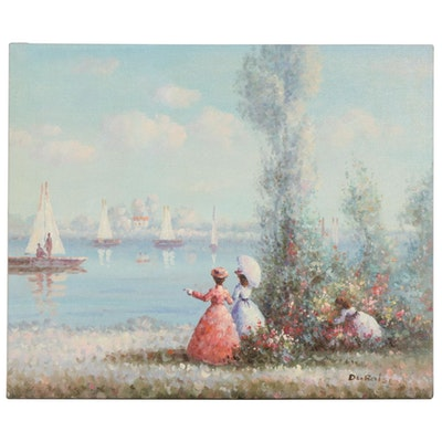 Impressionist Style European Lake Scene Oil Painting, Late 20th Century