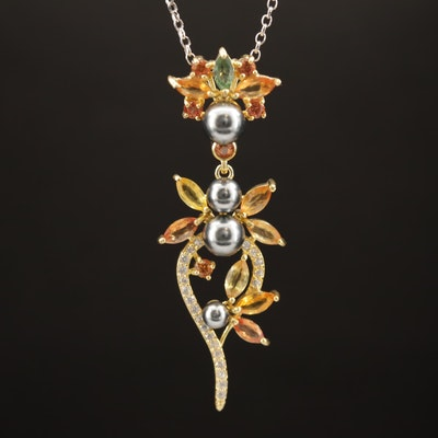 Sterling Pear, Cubic Zirconia and Fancy Color Sapphire Necklace