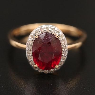 14K Filled Corundum Ring with Diamond Halo