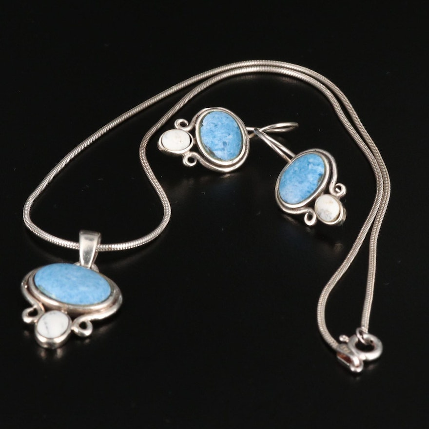 Sterling Silver Howlite and Faux Stone Necklace and Earrings Set